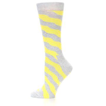 Image of Grey Yellow Wave Stripe Women's Dress Socks (side-2-11)