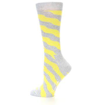 Image of Grey Yellow Wave Stripe Women's Dress Socks (side-2-12)