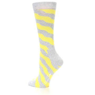 Image of Grey Yellow Wave Stripe Women's Dress Socks (side-2-13)