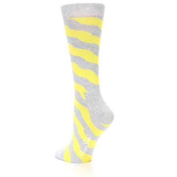 Image of Grey Yellow Wave Stripe Women's Dress Socks (side-2-back-14)