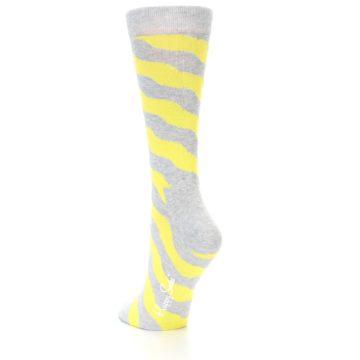 Image of Grey Yellow Wave Stripe Women's Dress Socks (side-2-back-15)
