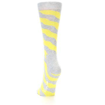 Image of Grey Yellow Wave Stripe Women's Dress Socks (side-2-back-16)