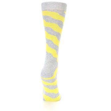 Image of Grey Yellow Wave Stripe Women's Dress Socks (back-19)