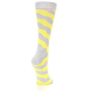Image of Grey Yellow Wave Stripe Women's Dress Socks (side-1-back-20)