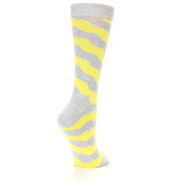 Image of Grey Yellow Wave Stripe Women's Dress Socks (side-1-back-21)