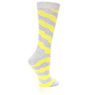 Image of Grey Yellow Wave Stripe Women's Dress Socks (side-1-back-22)