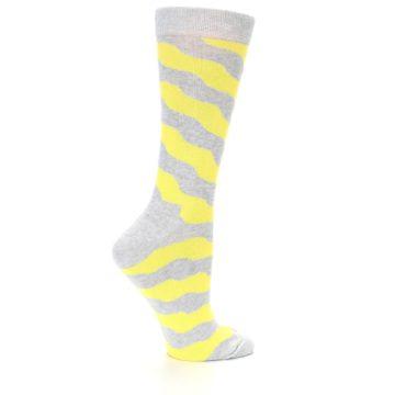 Image of Grey Yellow Wave Stripe Women's Dress Socks (side-1-23)