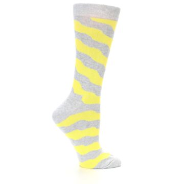 Image of Grey Yellow Wave Stripe Women's Dress Socks (side-1-24)