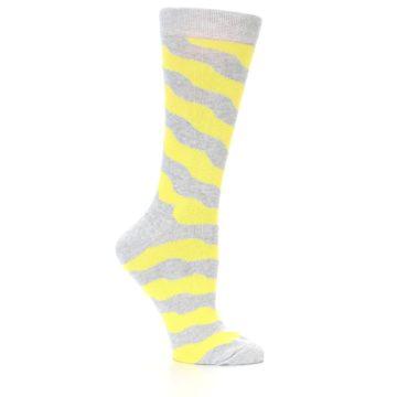 Image of Grey Yellow Wave Stripe Women's Dress Socks (side-1-25)