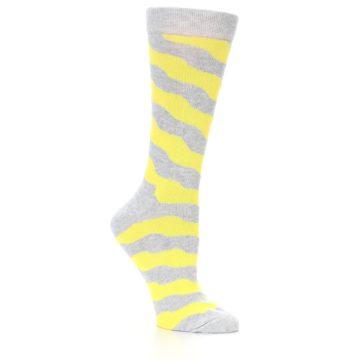 Image of Grey Yellow Wave Stripe Women's Dress Socks (side-1-26)