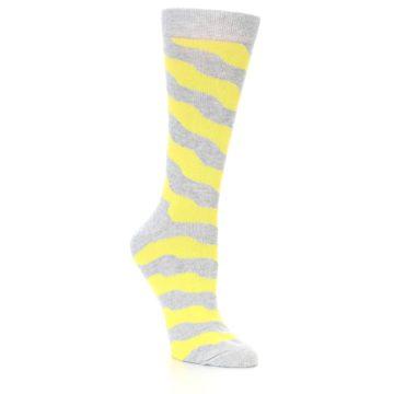 Image of Grey Yellow Wave Stripe Women's Dress Socks (side-1-27)