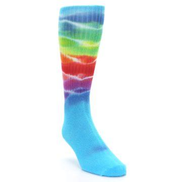 Image of Blue Multi Men's Bamboo Tie Dye Socks (side-1-front-02)
