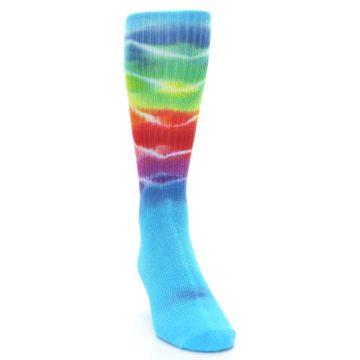Image of Blue Multi Men's Bamboo Tie Dye Socks (side-1-front-03)