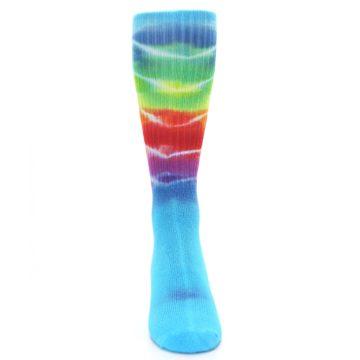 Image of Blue Multi Men's Bamboo Tie Dye Socks (front-04)