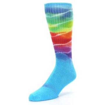 Image of Blue Multi Men's Bamboo Tie Dye Socks (side-2-front-08)