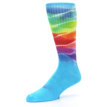 Image of Blue Multi Men's Bamboo Tie Dye Socks (side-2-09)