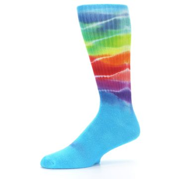 Image of Blue Multi Men's Bamboo Tie Dye Socks (side-2-10)