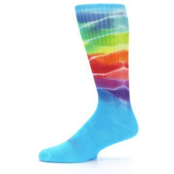 Image of Blue Multi Men's Bamboo Tie Dye Socks (side-2-11)