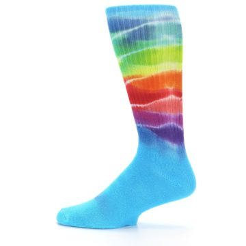 Image of Blue Multi Men's Bamboo Tie Dye Socks (side-2-12)