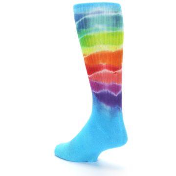 Image of Blue Multi Men's Bamboo Tie Dye Socks (side-2-back-15)