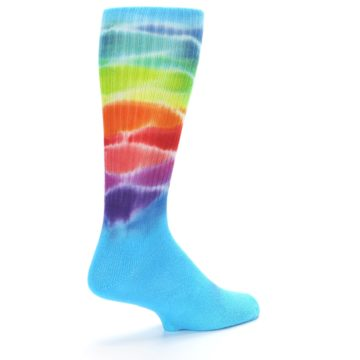Image of Blue Multi Men's Bamboo Tie Dye Socks (side-1-back-22)