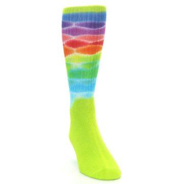 Image of Lime Green Multi Men's Bamboo Tie Dye Socks (side-1-front-03)