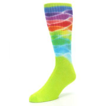 Image of Lime Green Multi Men's Bamboo Tie Dye Socks (side-2-front-08)