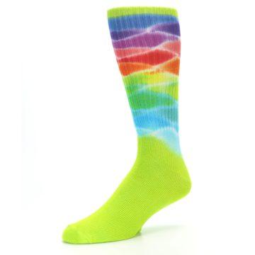 Image of Lime Green Multi Men's Bamboo Tie Dye Socks (side-2-09)