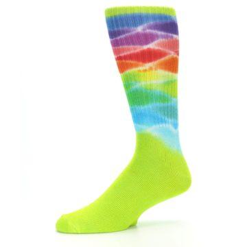 Image of Lime Green Multi Men's Bamboo Tie Dye Socks (side-2-10)