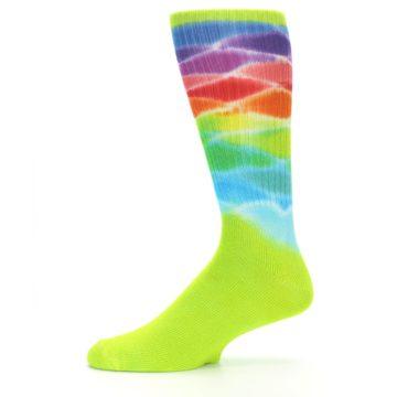 Image of Lime Green Multi Men's Bamboo Tie Dye Socks (side-2-11)