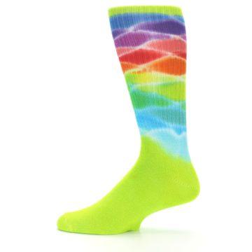 Image of Lime Green Multi Men's Bamboo Tie Dye Socks (side-2-12)