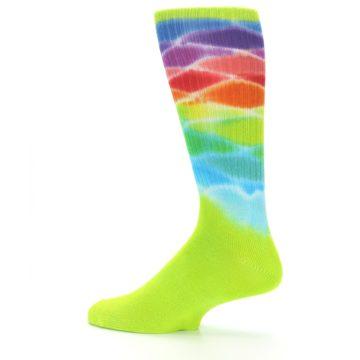 Image of Lime Green Multi Men's Bamboo Tie Dye Socks (side-2-13)