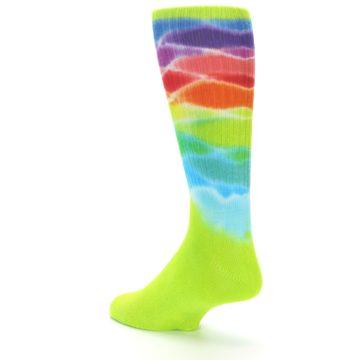 Image of Lime Green Multi Men's Bamboo Tie Dye Socks (side-2-back-15)