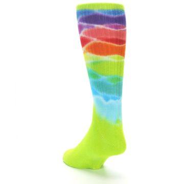 Image of Lime Green Multi Men's Bamboo Tie Dye Socks (side-2-back-16)