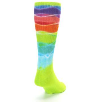 Image of Lime Green Multi Men's Bamboo Tie Dye Socks (side-1-back-20)