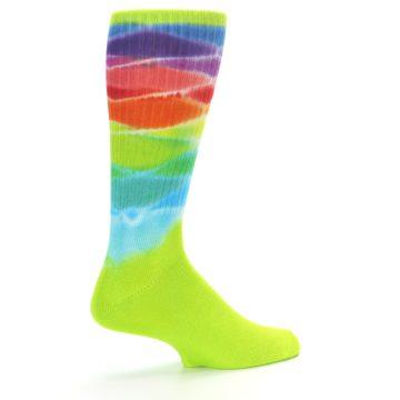 Image of Lime Green Multi Men's Bamboo Tie Dye Socks (side-1-23)