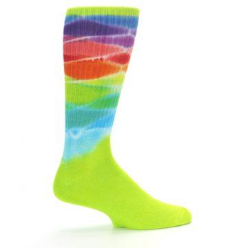 Image of Lime Green Multi Men's Bamboo Tie Dye Socks (side-1-24)