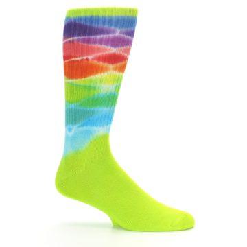 Image of Lime Green Multi Men's Bamboo Tie Dye Socks (side-1-25)