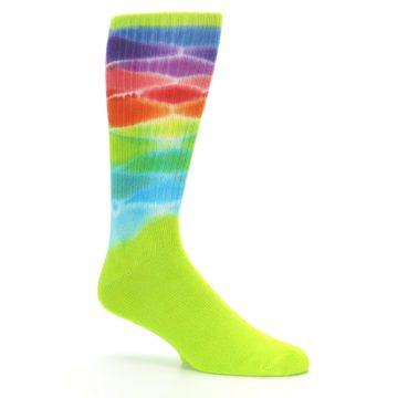 Image of Lime Green Multi Men's Bamboo Tie Dye Socks (side-1-26)