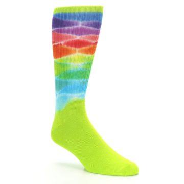 Image of Lime Green Multi Men's Bamboo Tie Dye Socks (side-1-27)