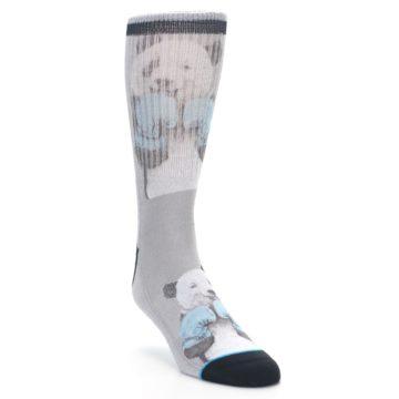 Image of Grey Boxing Panda Men's Casual Socks (side-1-front-02)