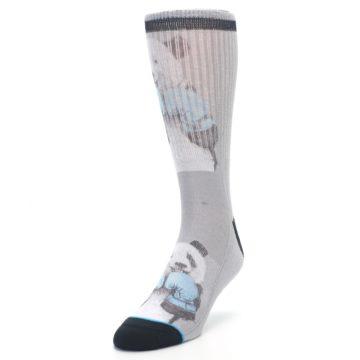Image of Grey Boxing Panda Men's Casual Socks (side-2-front-07)