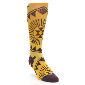 Image of Sundrop Maroon Patterned Men's Casual Socks (side-1-front-02)