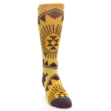 Image of Sundrop Maroon Patterned Men's Casual Socks (side-1-front-03)