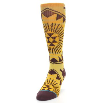 Image of Sundrop Maroon Patterned Men's Casual Socks (side-2-front-06)