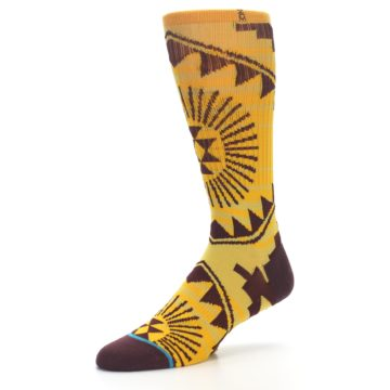 Image of Sundrop Maroon Patterned Men's Casual Socks (side-2-09)
