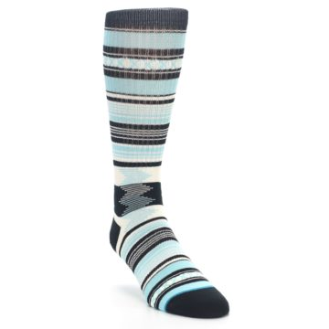 Image of Blue Black White Striped Men's Casual Socks (side-1-front-02)