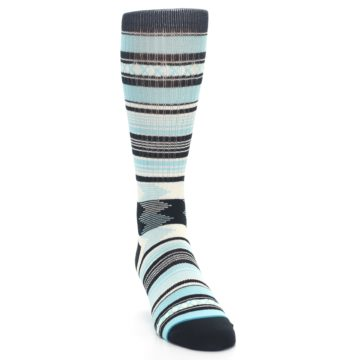 Image of Blue Black White Striped Men's Casual Socks (side-1-front-03)