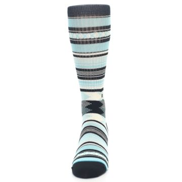 Image of Blue Black White Striped Men's Casual Socks (front-05)