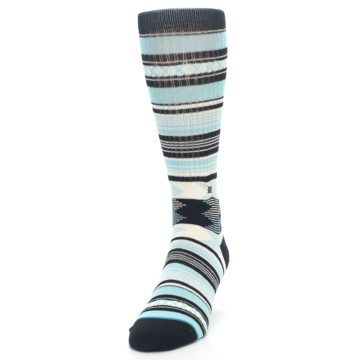Image of Blue Black White Striped Men's Casual Socks (side-2-front-06)